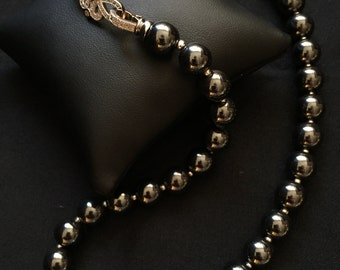 Hematite and Freshwater Pearl Necklace Statement Necklace Hematite Jewelry