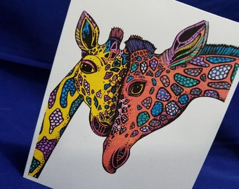 Note Cards, Notecards, Stationary, Stationery, Any Occasion, Blank Inside, Set of 10, Envelopes included, Colored Pencils: #NC1035 Giraffes