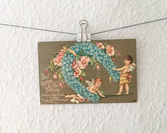 Antique fairy & flowers horseshoe postcard - Edwardian, shabby chic, forget me nots, good luck greetings, Victoriana, cherubs, glitter, pink