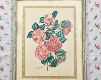 Vintage 1950s Lila Moore Keen Lithograph, Pink Camellia Flower Picture, Cottage Chic Picture, Shabby Chic Picture, Mid Century Botanical
