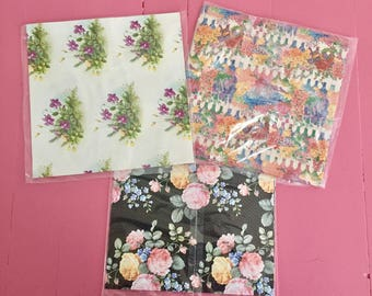 Vintage Gift Wrapping Paper Lot, NOS Wrapping Paper, Vintage Floral Gift Wrap, Marian Heath Wrapping Paper, Flower Paper Ephemera