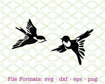 Bird SVG, Dxf, Eps & Png. Digital Cut Files for Cricut, Silhouette; Stylized Birds Svg, Swallow SVG, Swallowtail, Line Art Bird Silhouette