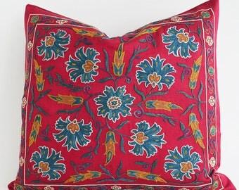 SALE 30% Suzani Pillows Decorative Pillows Suzani Cushion Needlecraft Ethnic Bohemian Throw Pillow Accent Pillow Cushions