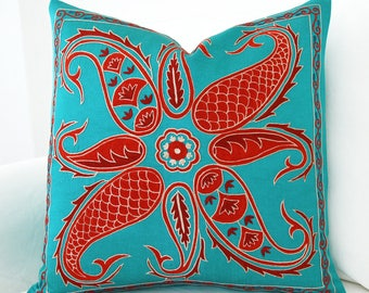 SALE ! - Silk Hand Embroidered Suzani Pillow Cover turquoise pillows suzani pillow uzbek pillow uzbek embroidery suzani pillow silk suzani