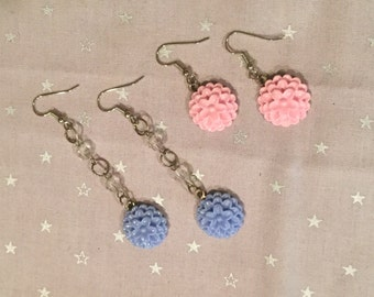 Blue and pink flower earring set