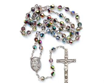 Vitrail Swarovski Crystal Sterling Silver Rosary with St. Joseph Center.