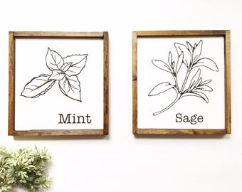 Herbs Wood Sign, Mini Wood Sign Set, Rustic Wooden Herbs Sign, Farmhouse Decor, Farmhouse Kitchen, Kitchen Sign, Sage and Mint Wood Signs