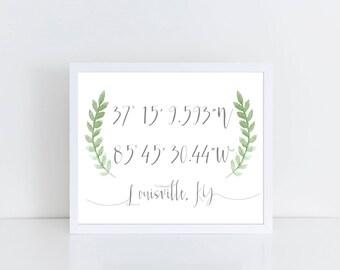 Coordinates Gift Custom Coordinates Latitude Longitude  Coordinates Sign Housewarming Gift Coordinates Print Engagement Gift Wedding Gift