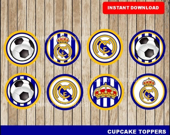 Real Madrid cupcakes toppers; printable Real Madrid toppers, Soccer party toppers instant download