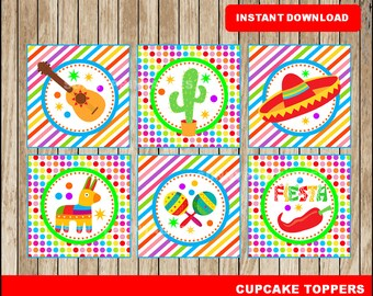 Mexican fiesta cupcakes toppers; printable Mexican fiesta toppers, Cinco de mayo party toppers instant download