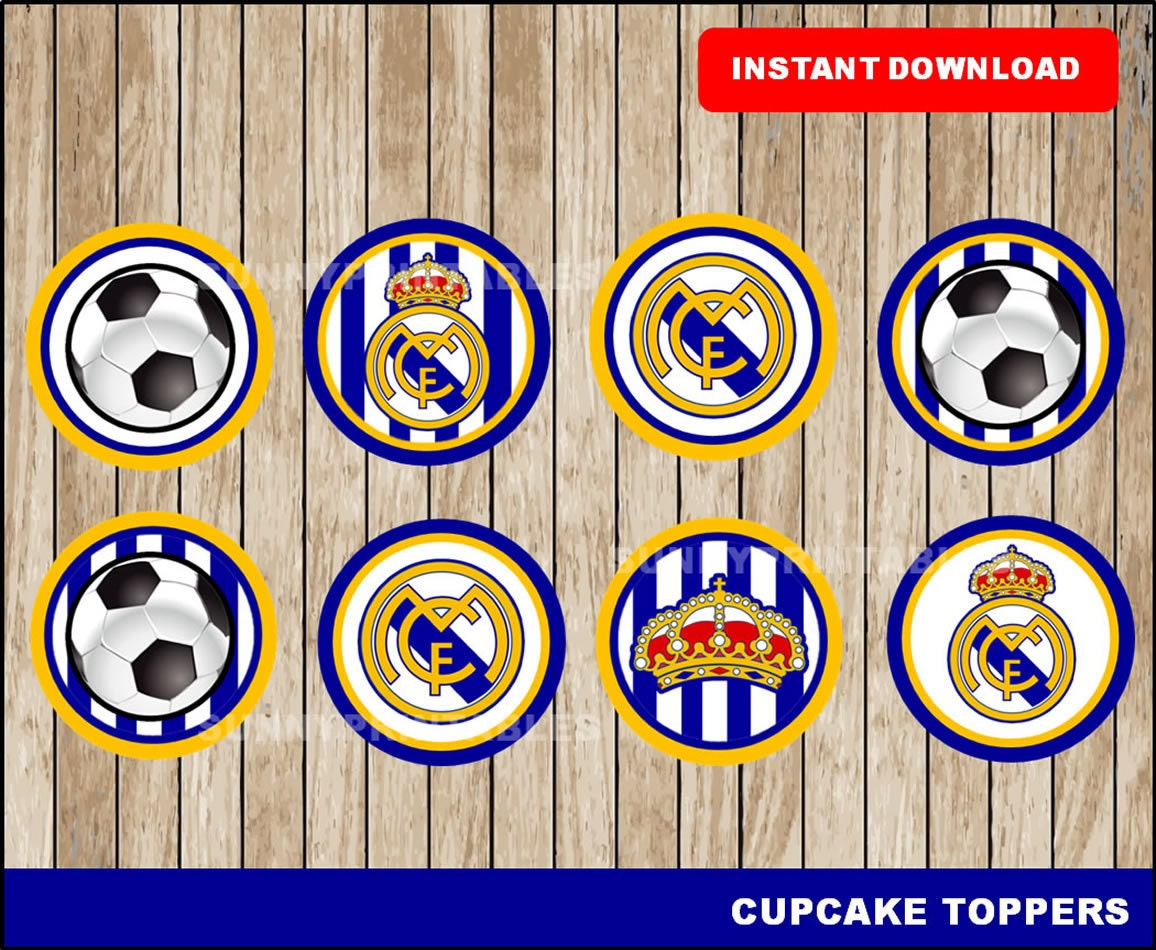 Real madrid cupcakes toppers printable real madrid toppers - Real madrid decorations ...