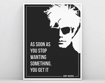 Andy Warhol Poster, Andy Warhol Print, Andy Warhol Poster, Modern Wall Art, Inspirational Art Print, Printable Quotes, Typogrphy Wall Decor