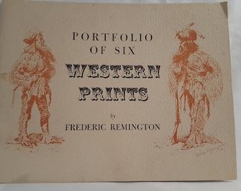 Vintage Portfolio of 6 Western Prints By Frederic Remington