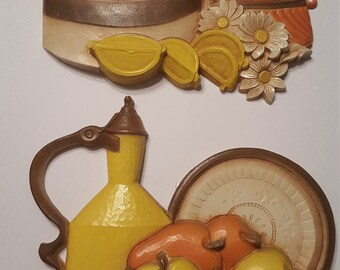 Vintage 1981 Homco by Syroco Hard Plastic Lemons and Pears Fruit Wall Plaques / Hangings