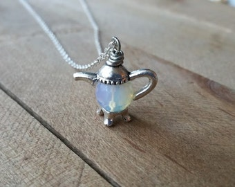 Sri Lanka Moonstone Teapot Necklace - Dainty Necklace, Girly Necklace, Gemstone Necklace, Tea Pot Necklace, Simple Necklace, Sterling Silver