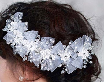 Pretty Wedding Hair Piece, Bows Flowers Rhinestone Fascinator, Bridal Hairpiece, Wedding Hair Accessories