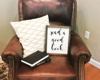 Read A Good Book framed sign, framed, handcrafted wood sign, handpainted, hand lettered, book sign, decor, wood book sign, library sign