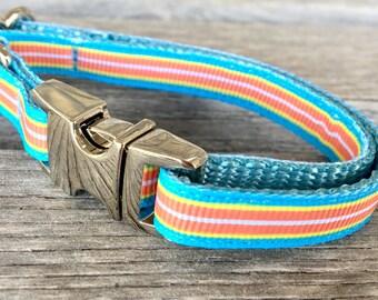 Vibrant Stripes Teacup Dog Collar, Blue Orange Yellow Striped Teacup Collar, Chic Small Dog Collar, Extra Small Teacup Dog Collar
