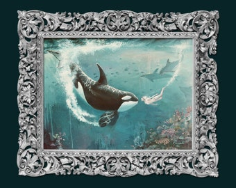 Orca killer whale PRINT on fine art paper, painting of beautiful orca and a girl for living room, bedroom ocean present gift. killer whale