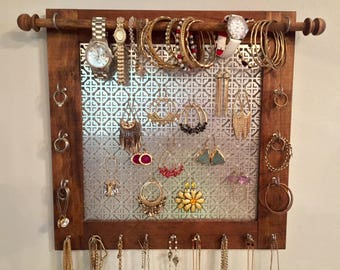 Wall Jewelry Organizer, Customized, Wood Wall Hanging Organizer, Graduation Gift, Jewelry Hanger,