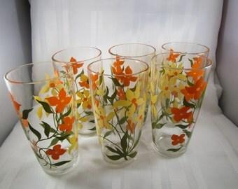 6 Vintage Glasses,  15 oz., Floral design