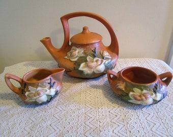 Roseville Magnolia, Teapot, Sugar and Creamer