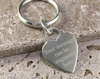 Solid Sterling Silver Personalised Keyring