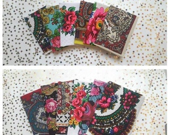 Upcycled Ukrainian Folk Scarf Covered NoteBooks