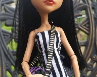 SALE! Nefera DeNile OOAK Repaint with Big-Top Burlesque Outfit, Custom Top-hat, Striped Boot Ties and Tiny Purse