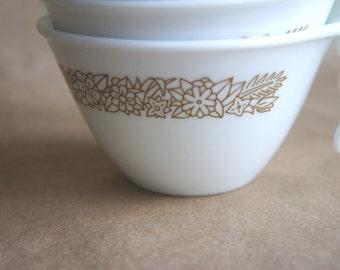 4 Vintage Corelle Woodland Brown Pattern Hook Handle Cups / Corelle Livingware Flat Cups Brown Flowers