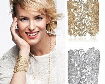 Golden Lace Effect Cuff Bracelet