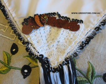Black sequined square headkerchief  (for traditional Greek costume)