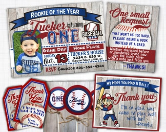 Little Slugger Baseball birthday invitation theme printable birthday card first birthday with or without picture in Cubs colors