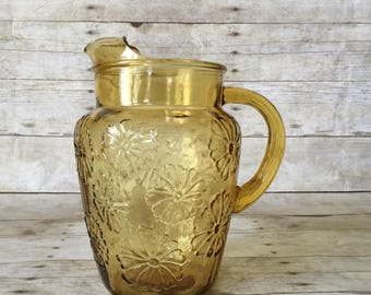 Vintage Amber Yellow Glass Juice Pitcher with Daisy Floral Design