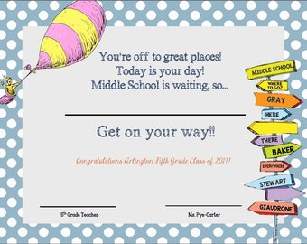 Oh The Places You'll Go Graduation Certificate