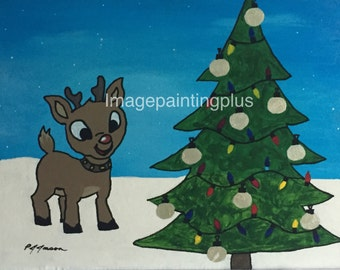 Baby Rudolph and Christmas Tree