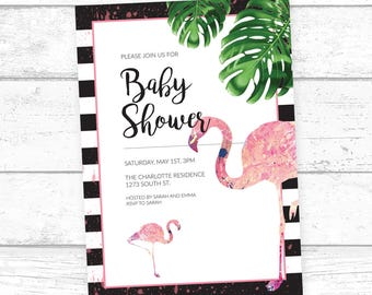 flamingo baby shower invitation printable baby shower invitation gender neutral baby shower