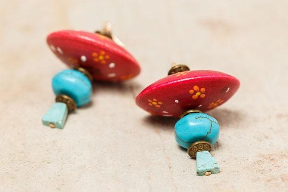 Earrings GYPSY - Turquoise - Gold 14K