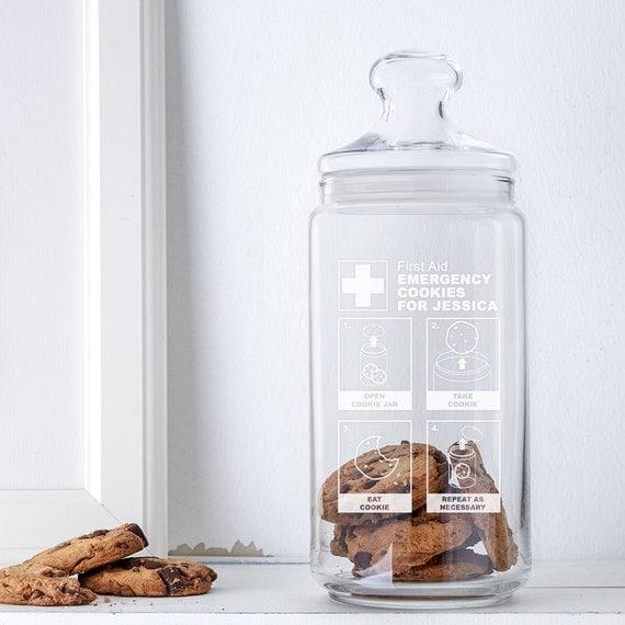 Biscuit Jar with Lid - Cookie Jar with Engraving - Emergency Cookies - Personalised with Name - Storage Jar