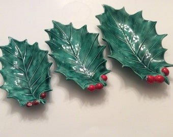 Vintage  Set of Three Holly Leaf Ceramic Dishes