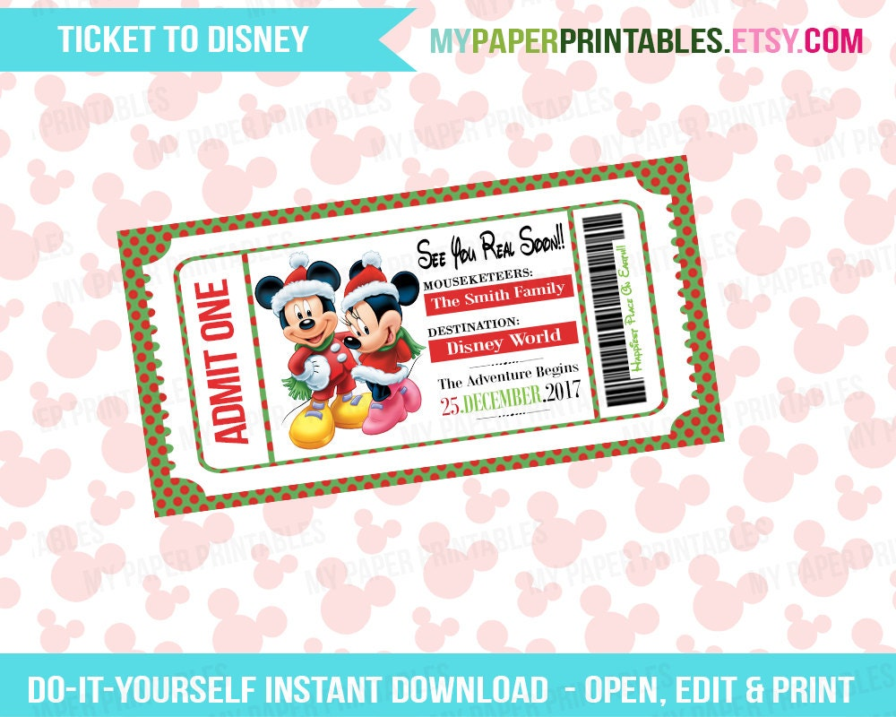 Sly image in printable disney tickets