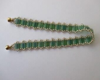 Tila Bead Bracelet/Green Beaded Bracelet/Seed Bead Bracelet