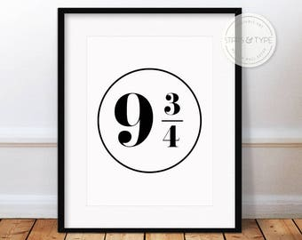9 3/4 Harry Potter Train Platform Number Sign, Printable Wall Art, Hogwarts Express, Black Typography, Modern Digital Print Poster Design