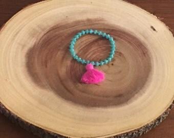 Large Tassel Bracelet - Hot Pink