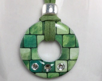 Green necklace, patterned necklace.