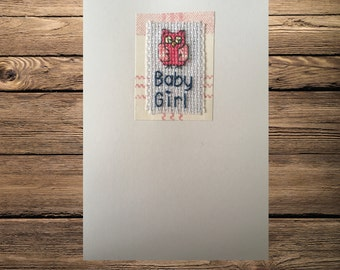 "Hand made ""Baby girl"" cross stich card"