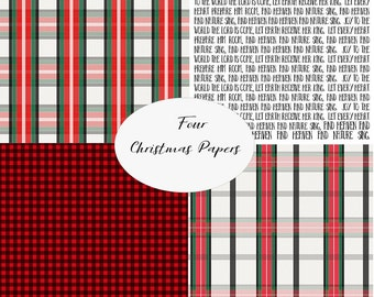 Instant Download - Christmas Plaid and more digital paper