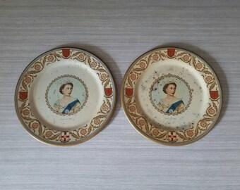 Vintage Tin Coronation Plates 1953