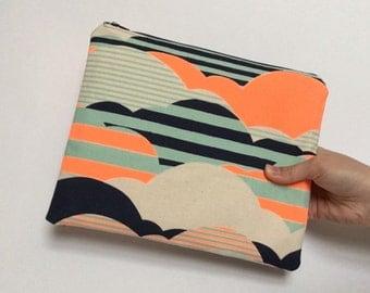 Handmade Clutch Bag, Cloud Print, Fabric Clutch, Zipper Clutch, Cotton Bag, Christmas Gift, Gift for Her, LoadedBobbins