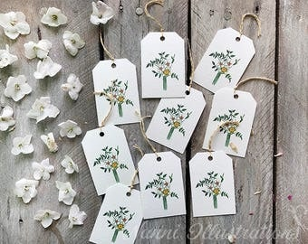 Watercolor Daffodils Bouquet Gift Tag Set